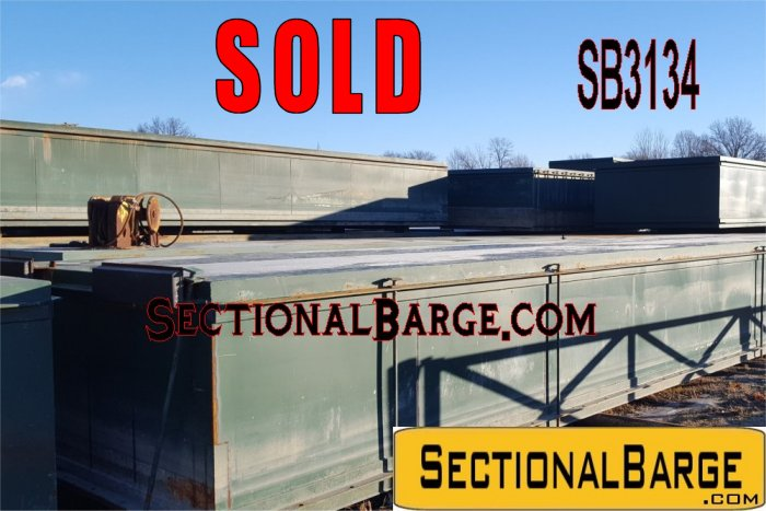 SB3134-SOLD - USED 40′ x 10′ x 5′ SECTIONAL BARGES