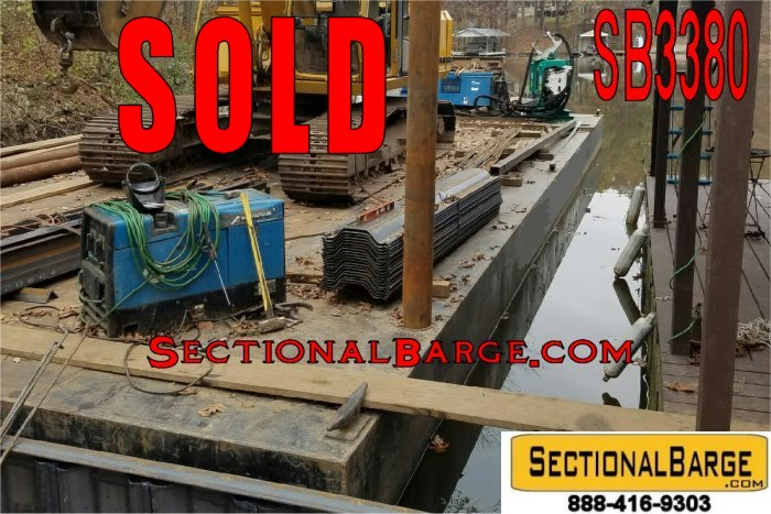 SB3380-SOLD – USED 48′ x 24′ x 4′ SECTIONAL SPUD BARGE