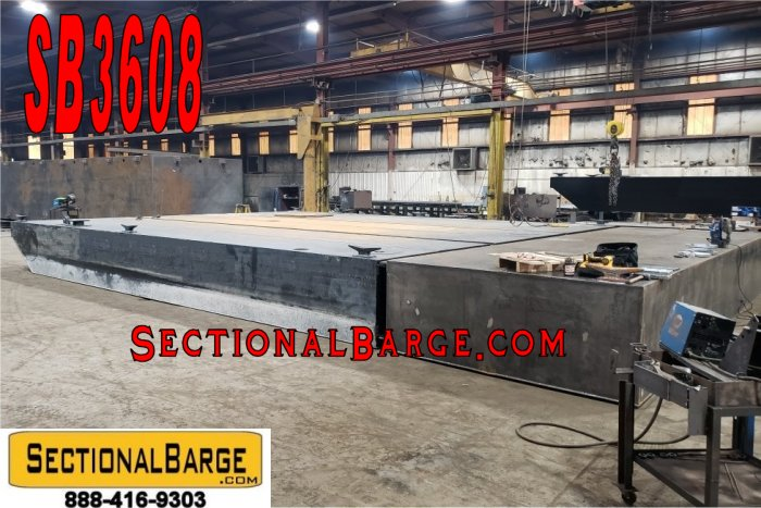SB3608 – USED 38′ x 24′ x 3′ SECTIONAL SPUD BARGE