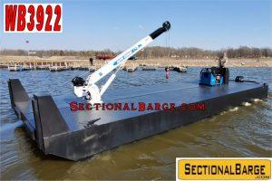 WB3922 - 35' x 14' x 3' WORK BOAT W/ AUTOCRANE